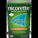 NICORETTE FRUITS 2 mg SANS SUCRE, gomme à mâcher médicamenteuse édulcorée au xylitol et à l'acésulfame potassique à Libourne